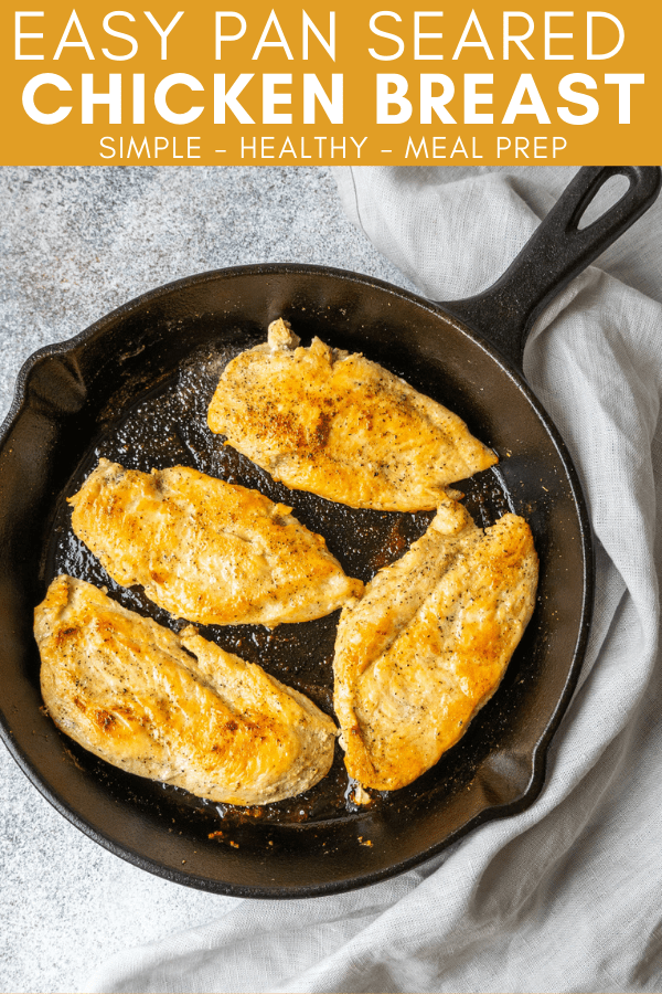 Pinterest image for easy pan seared chicken breast recipe