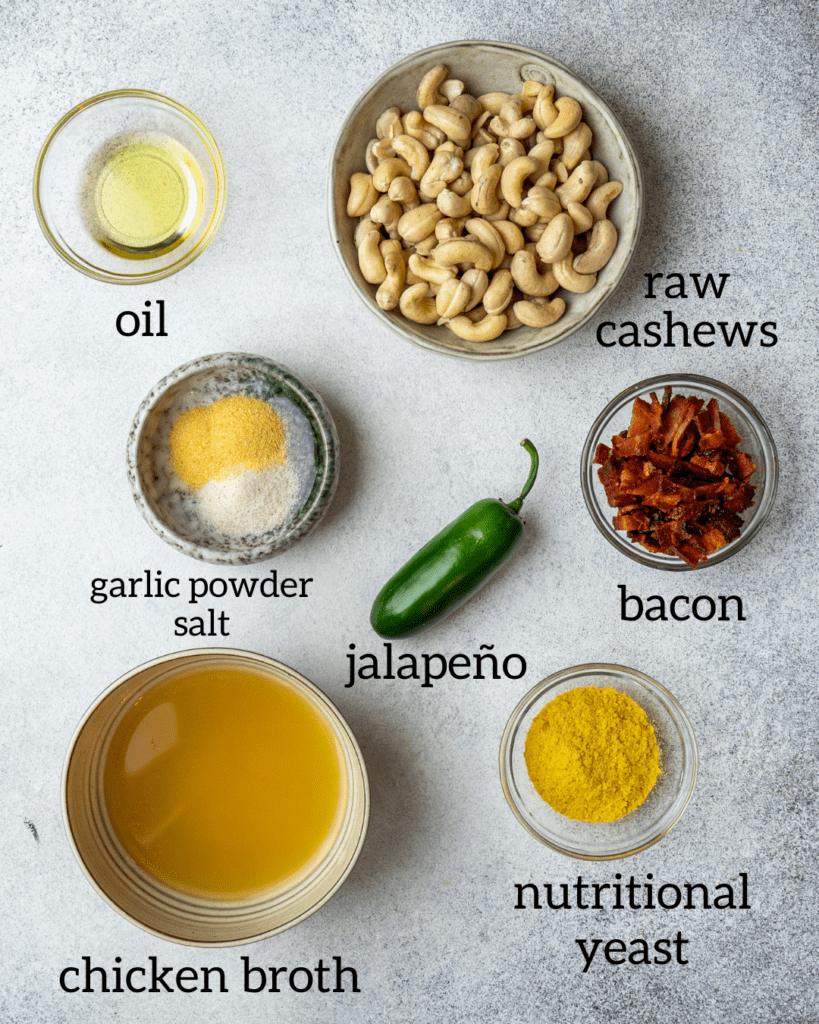 Above view of ingredients for dairy free jalapeno popper dip