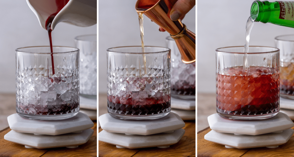 Step by step assemble of a cranberry Kentucky mule