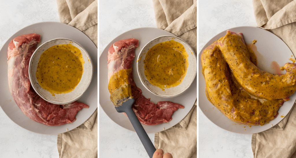 step by step pictures for marinating air fryer pork tenderloin