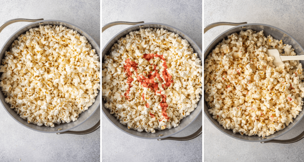 step by step photos of strawberry seasoning mixing into popcorn