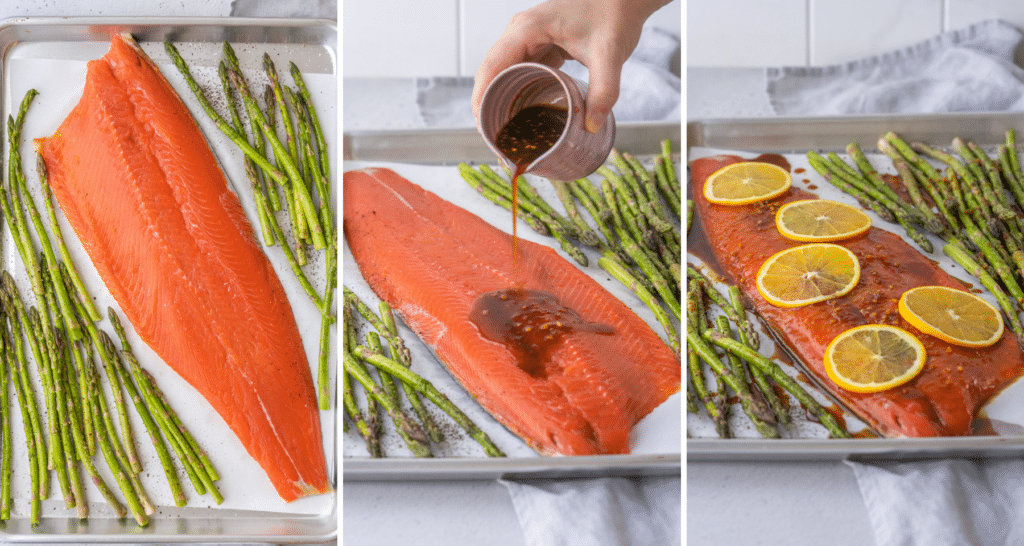 Step by step assembly photos for orange salmon cooked with asparagus