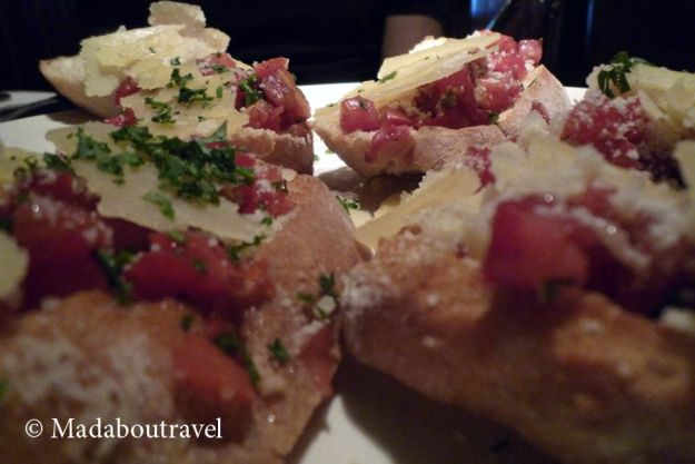 Bruschetta de tomate en Hard Rock Café