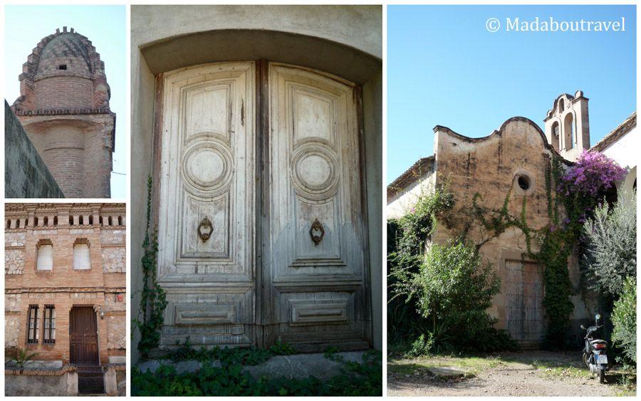 Detalles de la Colonia Güell: depósito de agua, casa de obrero, detalle de Can Soler de la Torre y la capilla