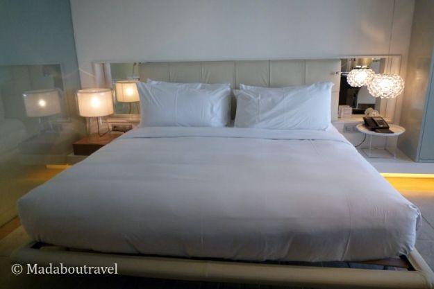 Cama de una suite en el hotel Mandarin Oriental de Barcelona