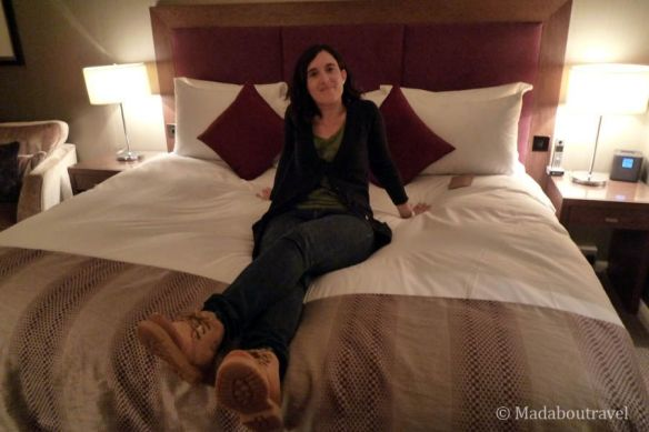 Testing my awesome bed for the night at the Kingsmills Hotel
