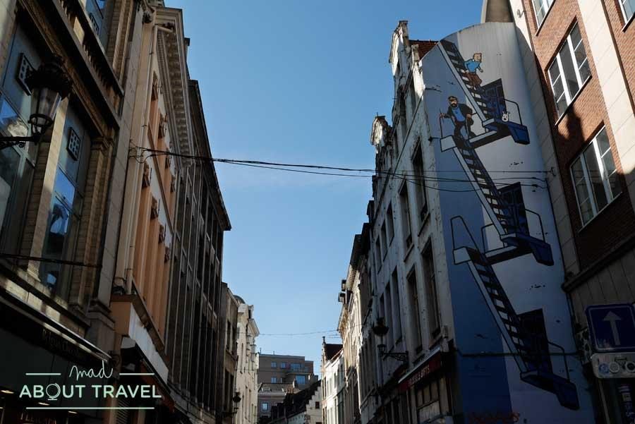 Mural de Tintín en el centro de Bruselas