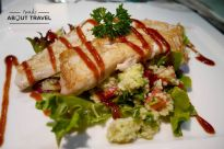 comida en el restaurante del Banyan Tree Vabbinfaru