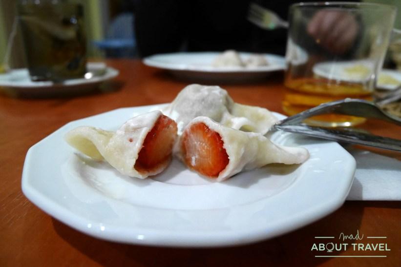 Pierogis rellenos de fresa