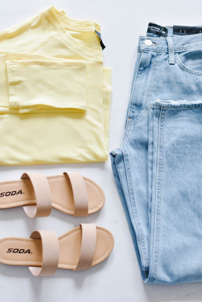 pale yellow knit longsleeve, boyfriend jeans and a nude sandal