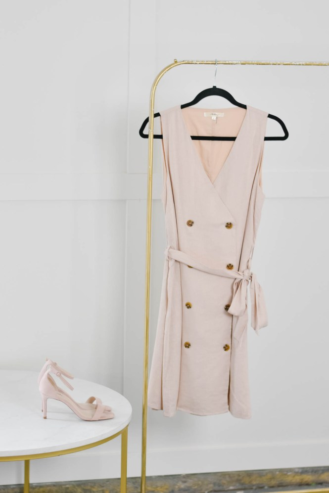 blush pink linen trench dress with blush heels.