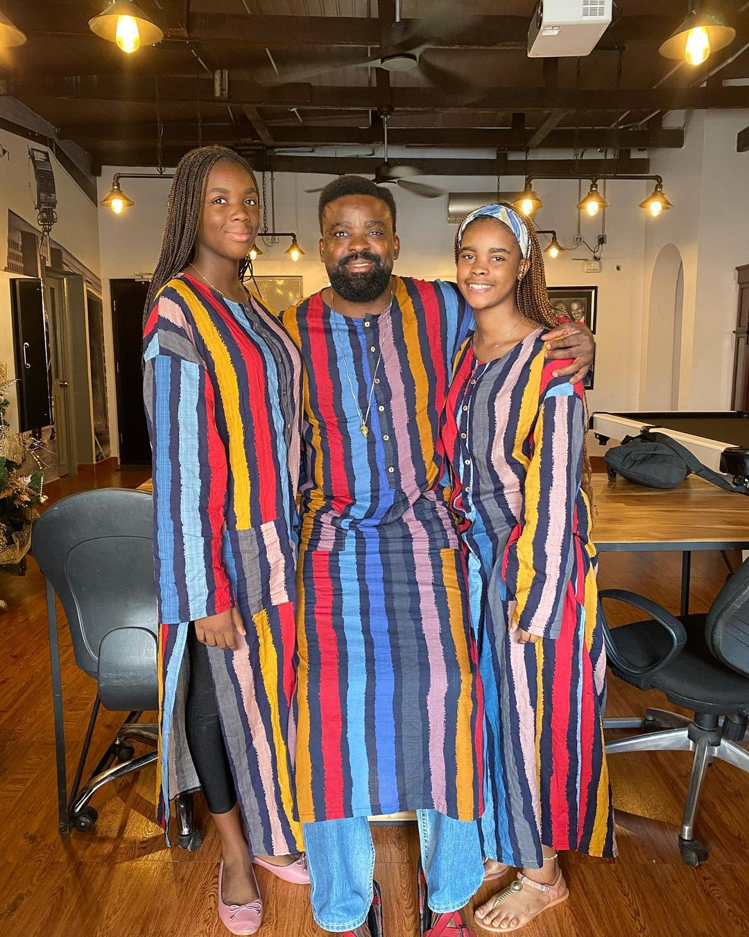 Kunle Afolayan and Children