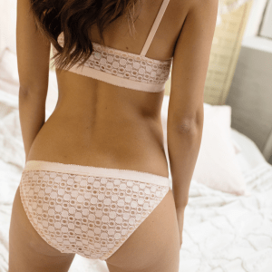 Support and comfort with the Barrett lace underwear in peach