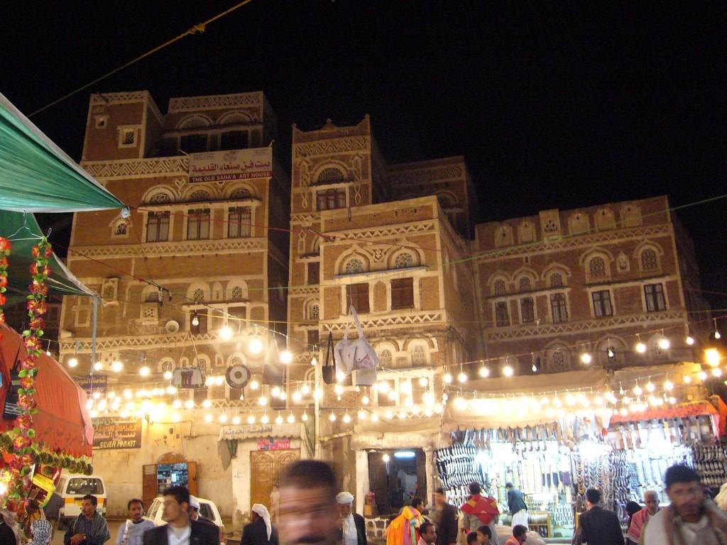 サナア旧市街の夜