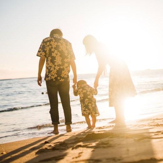 ワイキキビーチ ファミリーポートレート 家族写真