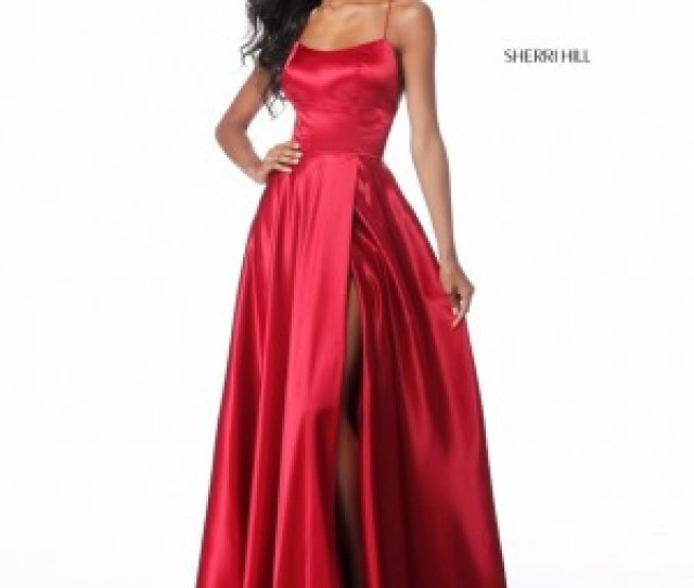 Sherri Hill  Lace Up Back Formal Gown With Slit
