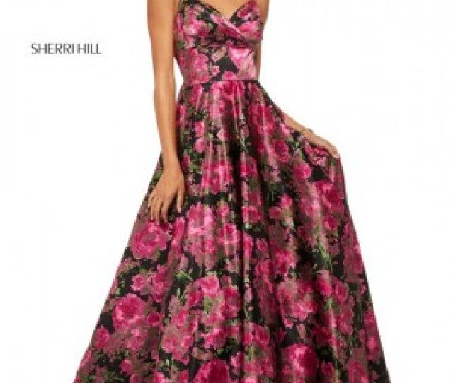 Sherri Hill  Sweetheart Neck Floral Long Party Dress