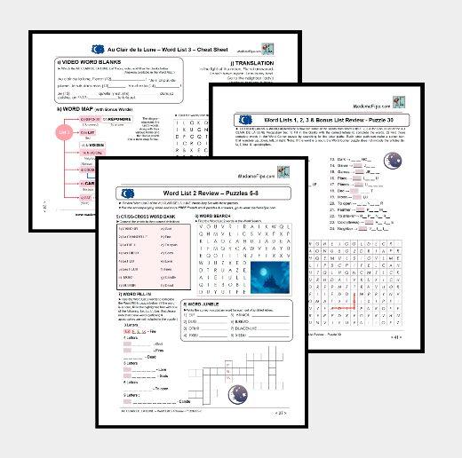 Cheat Sheet & Puzzles from the AU CLAIR DE LA LUNE Study Pack