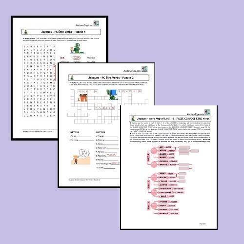 images of passé composé être verbs puzzle pack pages showing puzzles and word map, jacques lists 1-3