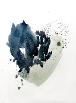 Abstract Indigo 1, 15 x 11 inches, acrylic ink on paper, 2016
