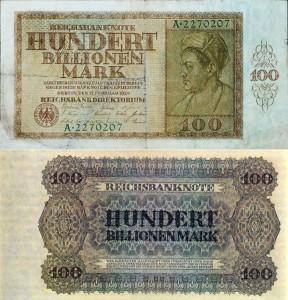 """100 Billionen Mark 1924-02-15"""" von Deutsche Reichsbank"""