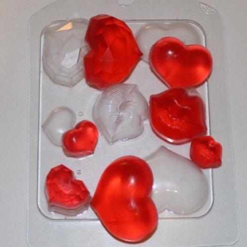 Пластиковая форма Сердечки поцелуйчики планшетка