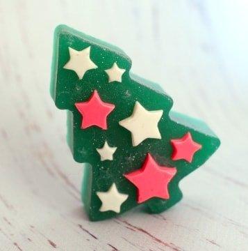 Мыло ручной работы Елочка со звездами