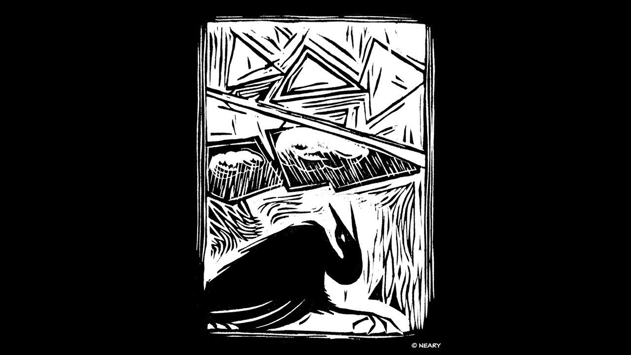 Bent Heron Woodcut