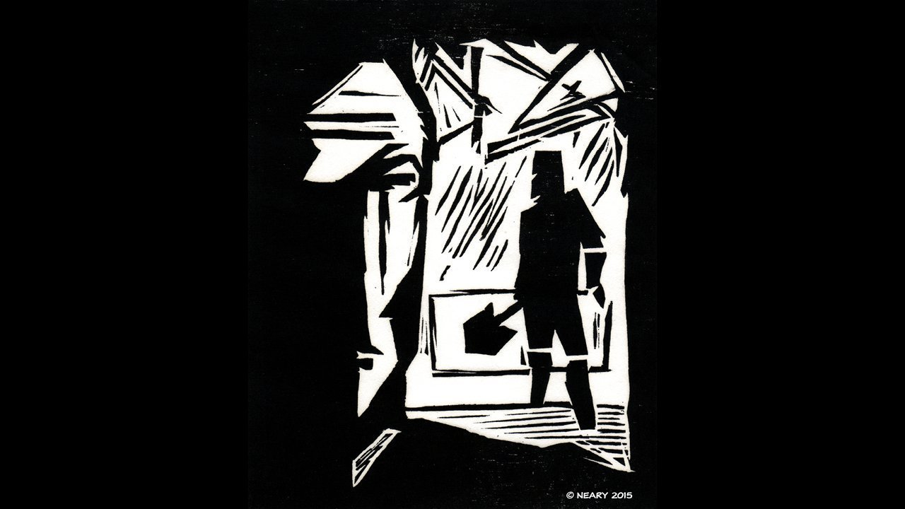 Black Road Woodcut
