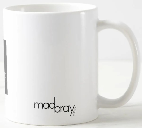 back of madbray.com coffee mug