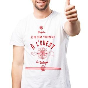T-shirt Ouest modèle homme bzh breizh bretagne