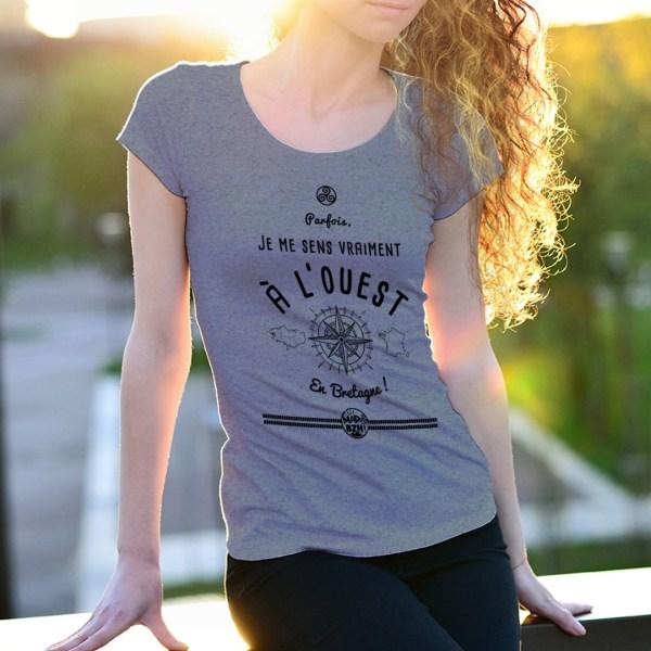 T-shirt Ouest modèle femme bzh breizh bretagne