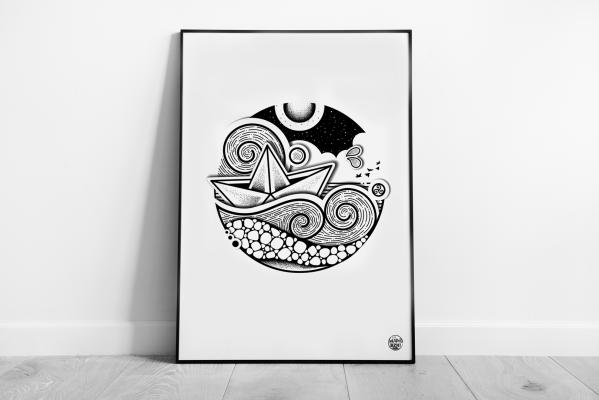 affiche mad bzh dessins marins