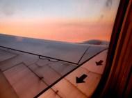plane wing in sunset - photo by Karen Molenaar Terrell