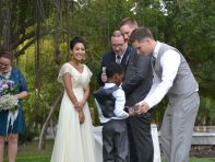 the ring bearer doing his job!