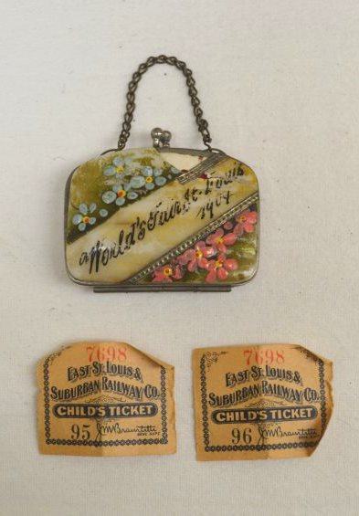 souvenir purse and railway tickets