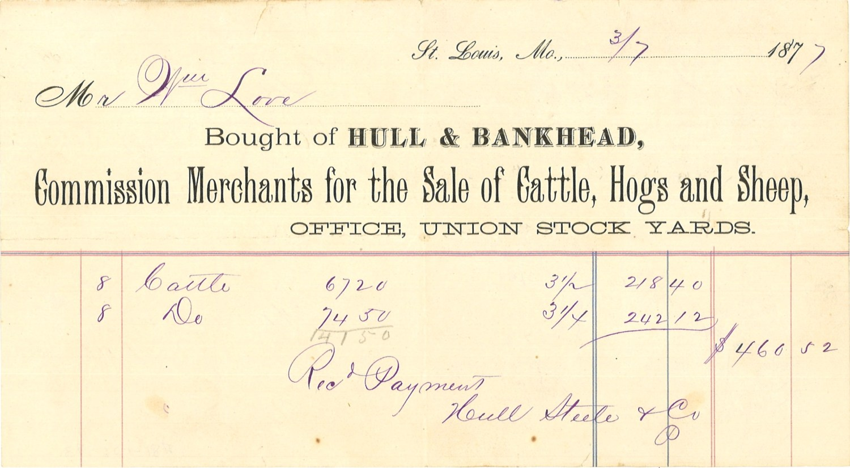 cattle purchase receipt, 1877