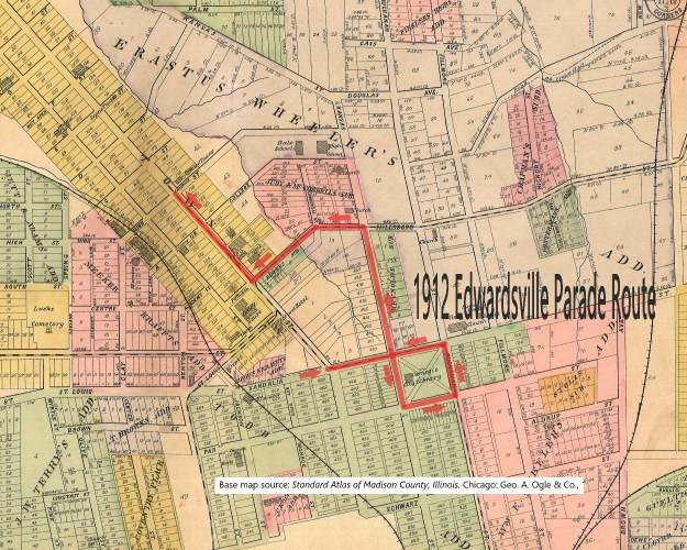 1912 Edwardsville Labor Day Parade Route