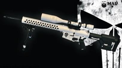 AR15 in Bright White w/ Punisher logo