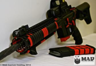 AR15 in Graphite Black & USMC Red w/ Red inside the rail