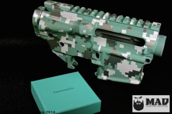 Tiffany Blue digital camo AR receiver set