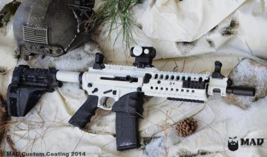 AR15 Pistol in Cerkakote Bright White & Graphite Black