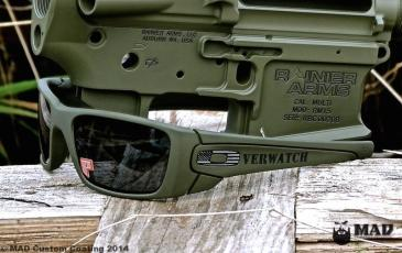 Oakley sunglasses in Magpul OD with custom Overwatch Designs logo