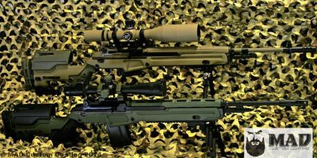 Pair of M1A rifles in JAE Stocks in Cerakote OD Green & FDE