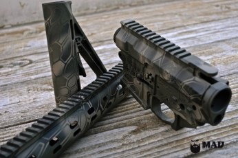 MEGA Arms AR set in MAD Dragon using Cerakote Graphite Black, Magpul OD & Magpul FDE