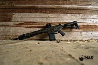 Apex Armor Ti-Alpha AR10 in Cerakote War Torn Burnt Bronze and Black
