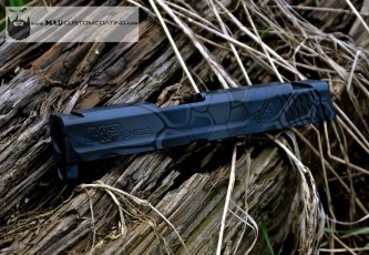 Smith & Wesson slide in Ghost MAD Dragon using MAD Black, Sniper Grey & Custom Mix Blue