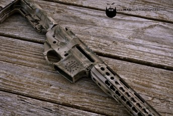AR15 in Cerakote MAD Dragon Camo using Magpul FDE, OD Green & Desert Sand w/ engraved 3% logo w/ black colorfill