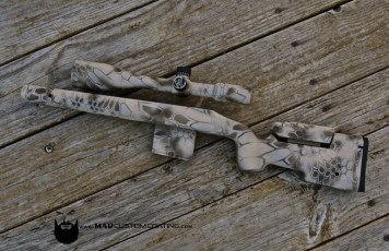 McMillan Stock, Nightfoce Scope & mag in MAD Dragon using Magpul FDE, Patriot Brown & Desert Sand