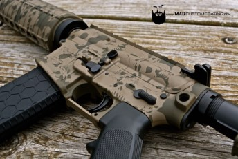 Sig Sauer AR15 in MAD Black & 2 color Skull Pattern using Magpul FDE & Magpul OD